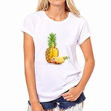 2016 Zomer Herfst Vrouwen Fruit Ananas Print Korte Blouses Katoenen Shirts Ronde Hals Blusas NFS50-WB-YH36(China (Mainland))