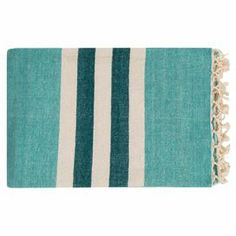 "Fringed blue cotton throw.   Product: ThrowConstruction Material: 100% CottonColor: BlueDimensions: 50"" x 70"""