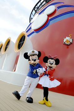 Captain Mickey Mouse and First Mate Minnie Mouse  All ears on deck! The Disney Dream crew is complete with Captain Mickey Mouse and First Mate Minnie Mouse, who greet guests onboard the Disney Dream. The Disney Dream offers a myriad of enchanting experiences for the entire family, including special visits from favorite Disney characters. (Preston Mack, photographer)