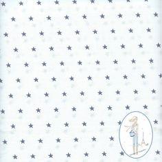 Tissu etoiles grises sur fond blanc au metre chez Sylvette en Goguette