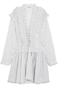 Designing without references, Azzedine Alaïa's unique style has earned him a cult following among the fashion elite. This mini dress is meticulously crafted from airy white cotton that is peppered with tactile black Swiss-dots. Ruffled through the plunge front and sleeves, it has a nipped-in waist and gently flared skirt - it's cut from multiple panels to show a glimpse of skin as you walk.