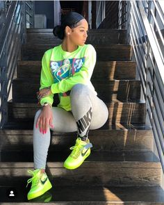 Neon slime insta baddie outfit inspo # baddie Outfits 𝕱𝖔𝖑𝖑𝖔𝖜 𝖋𝖔𝖗 𝖒𝖔𝖗𝖊 ❤️ Nike Outfits, Cute Swag Outfits, Chill Outfits, Sporty Outfits, Trendy Outfits, Summer Outfits, Baddie Outfits Casual, Baddies Outfits, Sneaker Outfits Women