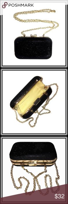 """CLUTCH / CROSSBODY EVENING BAG Black Gorgeous mini clutch comes with a removable golden 46"""" chain that transforms this adorable clutch into a sparklingly spectacular cross-body . Sparkling fuscia brings this classy evening bag into the """"must have"""" category! Bags Crossbody Bags"""