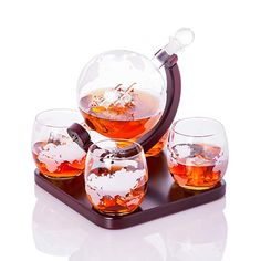 Old World Handblown Artisan Etched World Globe for Whiskey Scotch Bourbon and Fine Spirits Decanter Carafe with a Beautiful Glass Handmade Pirate Ship Inside by Sunday Rock Tequila, Vodka, Spirit Glasses, Whiskey Decanter, Star Wars Gifts, Glass Globe, Carafe, Old World, Bourbon