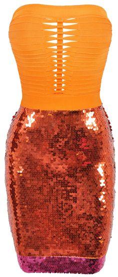 'Marina' Orange & Pink Sequin Bandage Dress