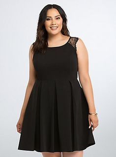 Plus Size Lace Back Skater Dress, DEEP BLACK
