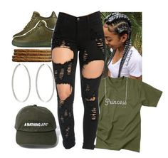 """""""Party Finna Be To Lit Tonight """" by prettygurl21 ❤ liked on Polyvore featuring Rothco, NIKE, Ambre Victoria and Belk & Co."""
