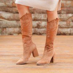 Gardabani Süet Taba Rengi Diz Altı Western Çizme  #suede #brown #heels #longboots #boots #western #süet #kahverengi #topuklu #çizme #kovboy Western Boots, Cowboy Boots, Tabata, Clothing, Shoes, Fashion, Heel Boot, Outfits, Moda