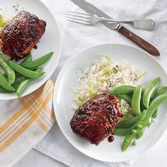 Sticky Soy-Hoisin Chicken Thighs Recipe, Cooking Light Dec. 2013 issue.