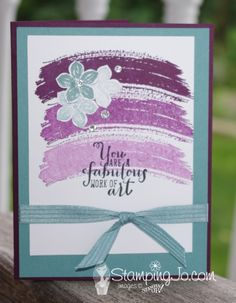 2014 Blackberry Bliss cardstock – 133675, cut 5.5″ x 8.5″, score at 4.25″ Lost Lagoon cardstock – 133679, cut 5.25″ x 4″ Whisper White – 100730  cut 4.5″ x 3.5″, plus scraps for flowers Blackberry Bliss ink- 133642 Lost Lagoon ink pad- 133644 Stazon Black – 101406 Petite Petals stamp set – c) 133155 w) 133152 Work of Art stamp set – c) 134114  w) 134111 Petite Petals punch – 133322