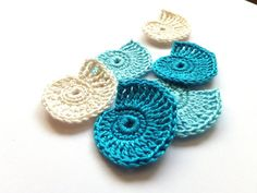 Crocheted sea shells applique - blue Beach wedding decorations, favors, sea shells embellishments, scrapbooking /set of 6/