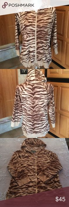 Lauren Ralph Lauren Active Tiger Zip Up Jacket XL Good pre-loved condition, no flaws to note. 3/4 length sleeves, adjustable cinch tie hem. Waffle knit tiger print material. I do NOT trade or hold items. Lauren Ralph Lauren Jackets & Coats