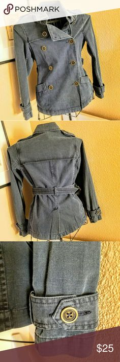 Final Sale! Will Remove 4/1 Military Style Jacket Military detailing, navy jean jacket with belt and brass buttons Old Navy Jackets & Coats