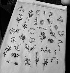 Desenhos pequenos e simples | Doodles | Tatoos