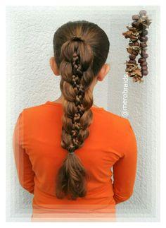 5strand braided ponytail with 2 microbraids & 3 regular strands