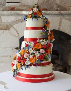 Wedding Cake with summer flowers by Cake Crown