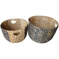 Baum 2-Tone Waterhyacinth Baskets, Set of 2, Natural