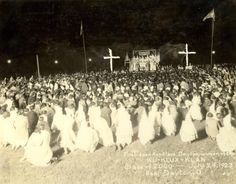 This picture shows the first opened Konklave of the Dayton women of the Ku-Klux-Klan. The picture was taken on July 24, 1923 near Dayton, Ohio.