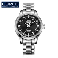 US $109.75 - LOREO Fashion Watches Women Watch Dress Stainless Steel Waterproof 50 M Gift For Wife Business Mechanical Wristwatches AB2043
