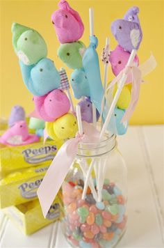 Peeps on a Stick - totally making a bouquet of these for Heather come Easter