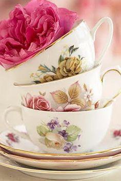 Stack of flower teacups