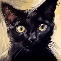 Black cat original oil painting, 8 x 8 inches by Diane Irvine Armitage.