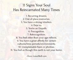 Past Lives: 11 Signs Your Soul Has Reincarnated Many Times -> http://lonerwolf.com/past-lives-soul-reincarnated/