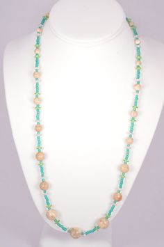 24 Inch Necklace Turquoise Tan Stone Czech by FiveLeavesFound, $32.00