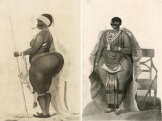 Sarah Baartman illustrated from the front and in profile