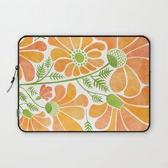 Modern vibrant orange floral art laptop sleeve #ad