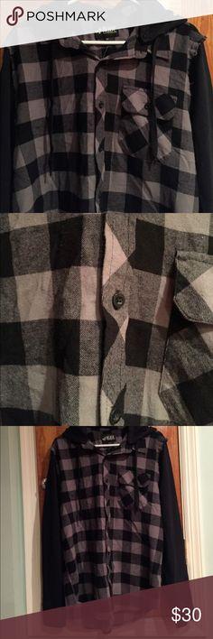 Flannel Hoodie Black and gray flannel shirt. Just stressed sleeves. Removable hoodie. Rude Shirts Sweatshirts & Hoodies