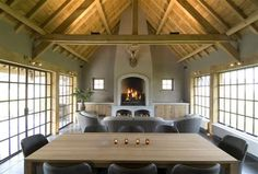 love the steel windows and natural light, wood ceiling Decor, House, Curtains Living Room, Home, Living Spaces, Steel Windows, Pool Houses, Outdoor Wood, Great Rooms