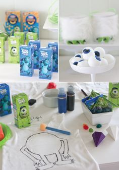 Monster Party Ideas Inspired by Monsters U- lots of games and crafts ideas for a party or just for a boring summer day Living Monster University Birthday, Monster Inc Party, Monster Birthday Parties, 3rd Birthday Parties, Boy Birthday, Birthday Ideas, Disney Birthday, Party Planning, First Birthdays