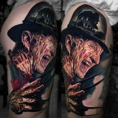 The horror movie character Freddy Krueger, from A Nightmare on Elm Street movie series. Freddy Krueger, Latest Tattoo Design, Best Tattoo Designs, Great Tattoos, Body Art Tattoos, Tattoo Ink, Cat Portrait Tattoos, Horror Movie Tattoos, Horror Movies