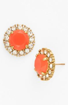 Fluorescent Coral and sparkly crystals earrings are the best!