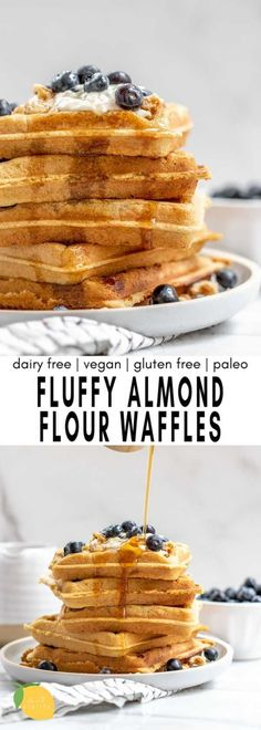 These fluffy almond flour waffles are an easy and healthy vegan breakfast that are also paleo! Almond Flour Waffles, Healthy Waffles, Healthy Vegan Breakfast, Pancakes And Waffles, Free Breakfast, Breakfast Ideas, Dairy Free Recipes, Healthy Recipes, Healthy Eats