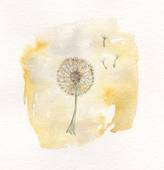 Just Dandy/Dandelion yellow/6x8/Grey and by kellybermudez on Etsy, $20.00