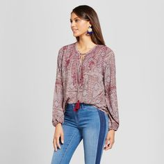 Women's Embroidered Medallion Print Peasant Top - Knox Rose Burgundy Xxl, Multicolored