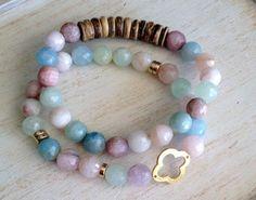 Reminds me of seashells on the beach… Beryl Gemstone Beaded Stretch Bracelet Coconut by LoveandLulu, $45.00