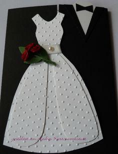 Gorgeous Wedding Card – The Best Ideas Homemade Wedding Cards, Wedding Cards Handmade, Greeting Cards Handmade, Homemade Cards, Wedding Scrapbook, Scrapbook Cards, Wedding Congratulations, Dress Card, Engagement Cards