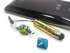 Cell Phone Charm  Yellow Mini Stylus Charm  Stylus by Cynhumphrey