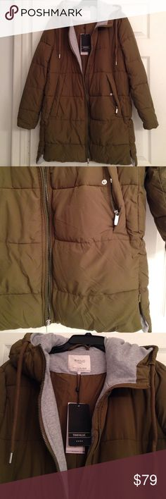ZARA OLIVE GREEN MID LENGTH PUFFER COAT Beautiful Zara olive green puffer coat with hood.. Zippers on the lower sides and lower sleeves.. An inside zippered pocket.. Zip-up front.. Pockets in front with both snap closures and zippers.. A great-looking coat that's very functional too! Brand new with tags. Never worn. Zara Jackets & Coats