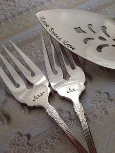 I love them!! Mr. & Mrs. forks and cake server set vintage by LoreleiVella, $55.00