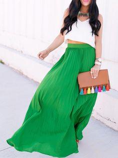 green high waist skirt, pleated maxi skirt, trendy high waist skirt, green skirt - Crystalline