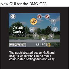 New CSC Panasonic LUMIX GF3C GUI Settings Control Panel.
