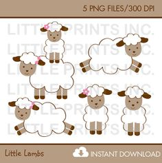 Baby Lamb Clip Art INSTANT DOWNLOAD by LittlePrintsParties on Etsy,