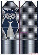 Knit owl mitten in fairisle Knitted Mittens Pattern, Fair Isle Knitting Patterns, Knitting Charts, Knitted Gloves, Knitting Socks, Knitting Stitches, Baby Knitting, Fair Isle Chart, Owls