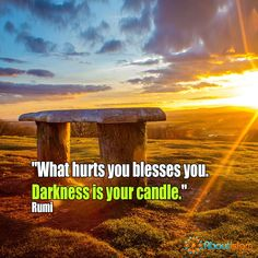 What hurts you, blesses you.   #Rumi #BlessingsInDisguise #Islam