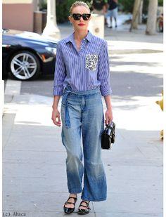 Kate Bosworth look casual chic en pantalon large