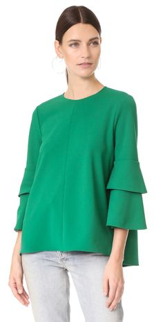 Tibi Structured Crepe Bell Sleeve Top | SHOPBOP